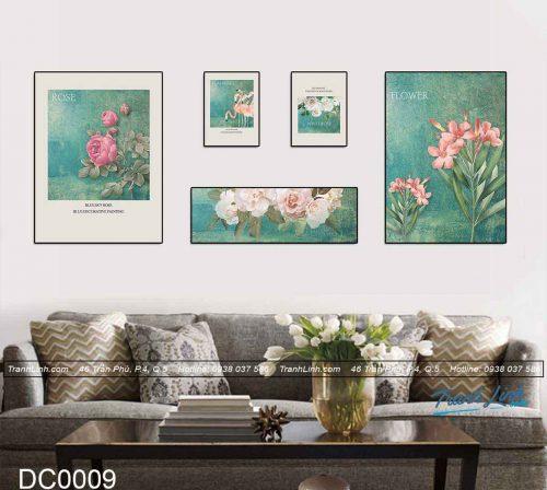 bo tranh canvas trang tri decor hoa hong nen xanh 2