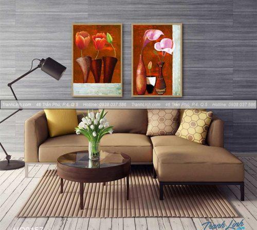 Bo tranh canvas hoa treo tuong trang tri phong khach 129