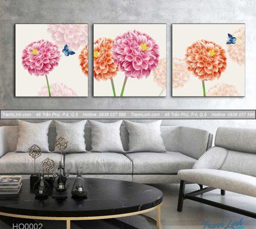 Bo tranh canvas hoa treo tuong trang tri phong khach 2