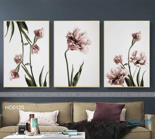 Bo tranh canvas hoa treo tuong trang tri phong khach 85