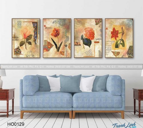 Bo tranh canvas hoa treo tuong trang tri phong khach 91