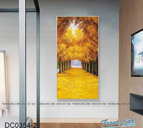 Bo tranh canvas treo tuong trang tri cau thang hai hang cay mua thu 12