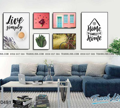 Bo tranh canvas treo tuong trang tri phong khach home sweet home