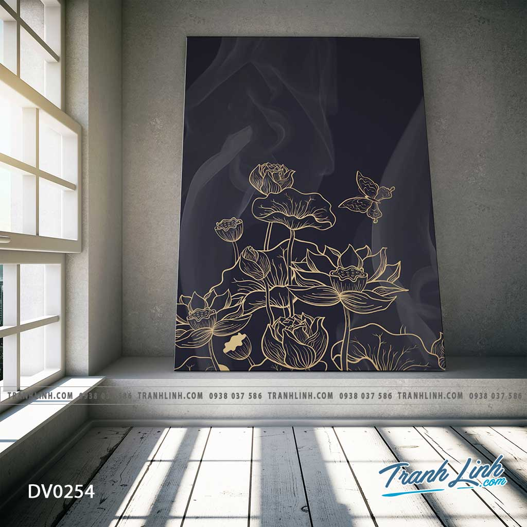 Tranh canvas treo tuong trang tri cau thang hoa sen truu tuong