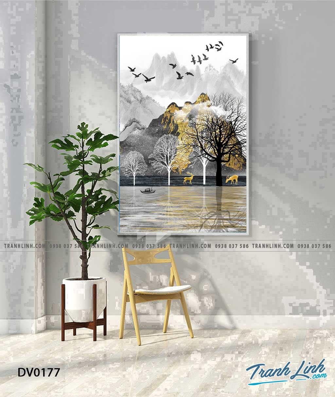 Tranh canvas treo tuong trang tri cau thang phong canh truu tuong