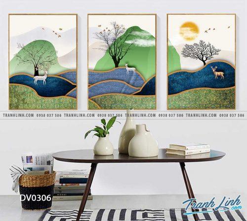 Tranh canvas treo tuong trang tri phong khach phong canh truu tuong 100