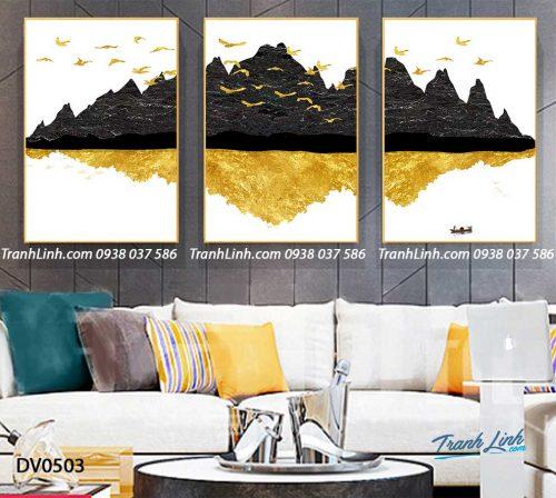 Tranh canvas treo tuong trang tri phong khach phong canh truu tuong 136