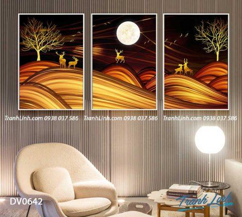 Tranh canvas treo tuong trang tri phong khach phong canh truu tuong 168