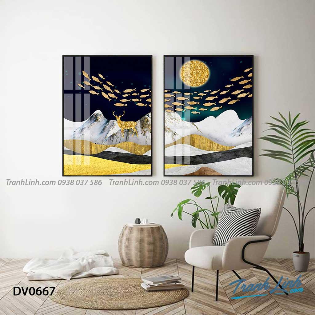 Tranh canvas treo tuong trang tri phong khach phong canh truu tuong 173