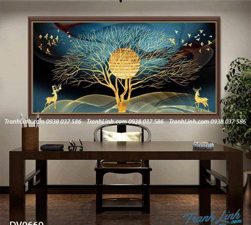 Tranh canvas treo tuong trang tri phong khach phong canh truu tuong 174