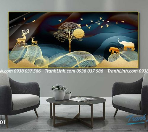 Tranh canvas treo tuong trang tri phong khach phong canh truu tuong 218