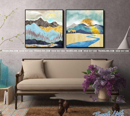 Tranh canvas treo tuong trang tri phong khach phong canh truu tuong 238