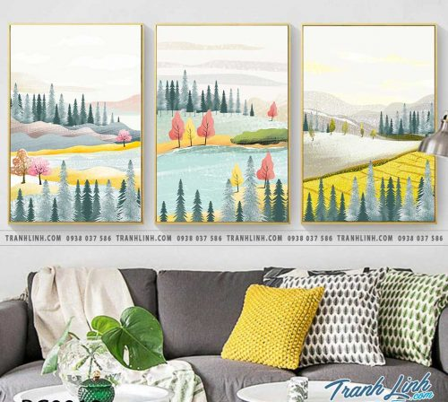Bo tranh Canvas treo tuong trang tri phong khach phong canh PC0012