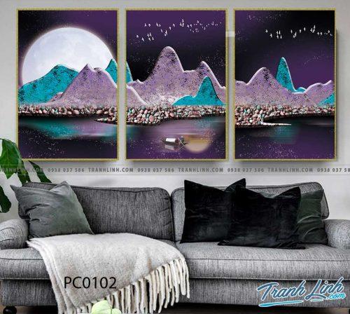 Bo tranh Canvas treo tuong trang tri phong khach phong canh PC0102