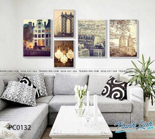 Bo tranh Canvas treo tuong trang tri phong khach phong canh PC0132