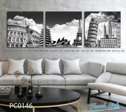 Bo tranh Canvas treo tuong trang tri phong khach phong canh PC0146