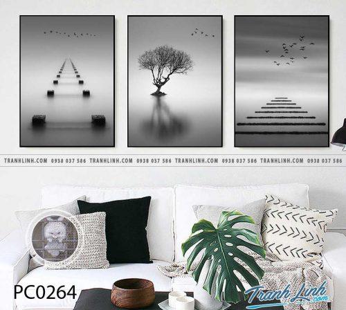 Bo tranh Canvas treo tuong trang tri phong khach phong canh PC0264