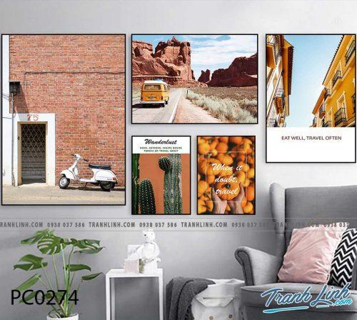 Bo tranh Canvas treo tuong trang tri phong khach phong canh PC0274