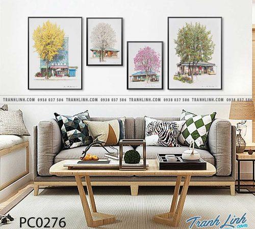 Bo tranh Canvas treo tuong trang tri phong khach phong canh PC0276