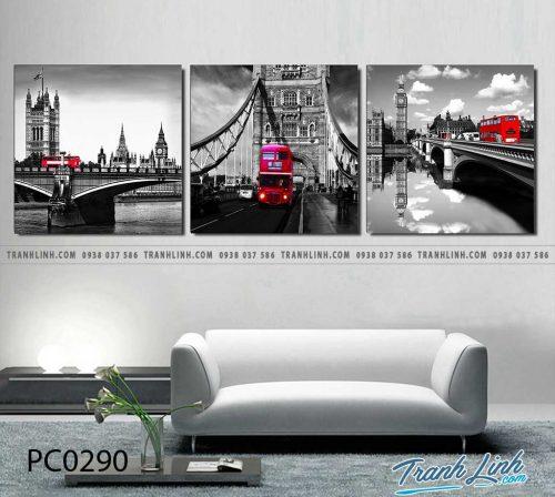 Bo tranh Canvas treo tuong trang tri phong khach phong canh PC0290