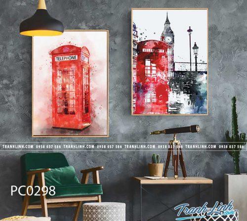 Bo tranh Canvas treo tuong trang tri phong khach phong canh PC0298