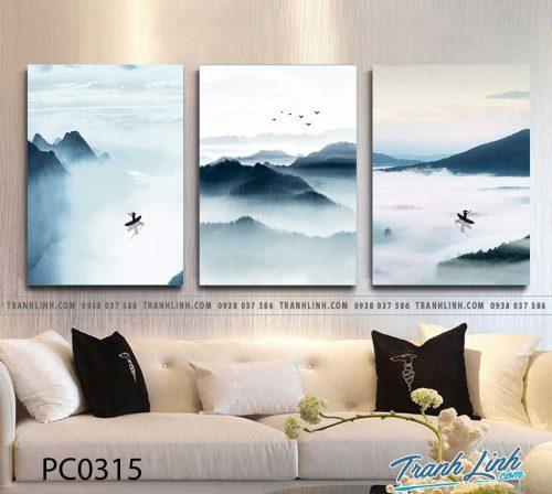 Bo tranh Canvas treo tuong trang tri phong khach phong canh PC0315