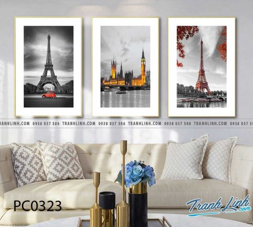 Bo tranh Canvas treo tuong trang tri phong khach phong canh PC0323
