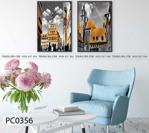 Bo tranh Canvas treo tuong trang tri phong khach phong canh PC0356