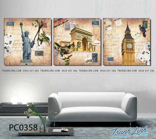 Bo tranh Canvas treo tuong trang tri phong khach phong canh PC0358