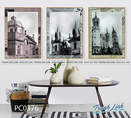 Bo tranh Canvas treo tuong trang tri phong khach phong canh PC0376