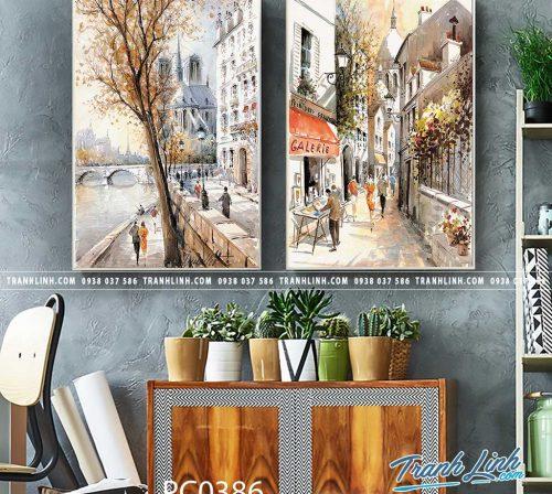 Bo tranh Canvas treo tuong trang tri phong khach phong canh PC0386