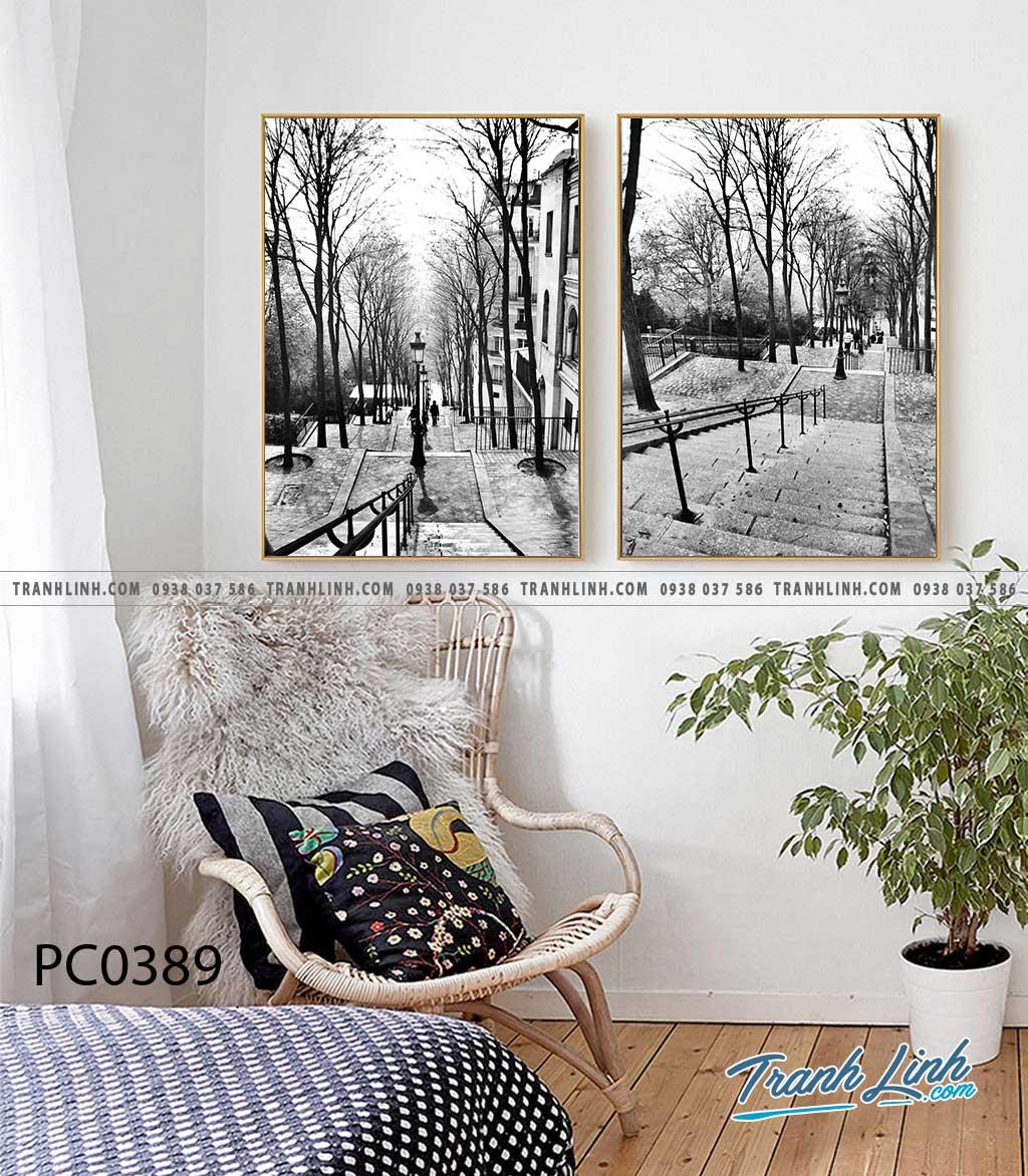 Bo tranh Canvas treo tuong trang tri phong khach phong canh PC0389