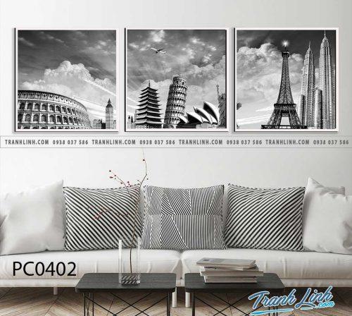 Bo tranh Canvas treo tuong trang tri phong khach phong canh PC0402