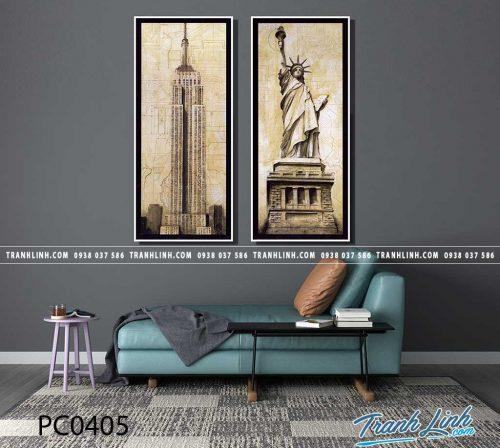 Bo tranh Canvas treo tuong trang tri phong khach phong canh PC0405