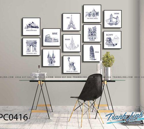 Bo tranh Canvas treo tuong trang tri phong khach phong canh PC0416