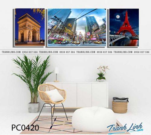 Bo tranh Canvas treo tuong trang tri phong khach phong canh PC0420