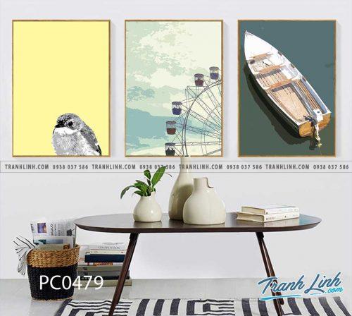 Bo tranh Canvas treo tuong trang tri phong khach phong canh PC0479
