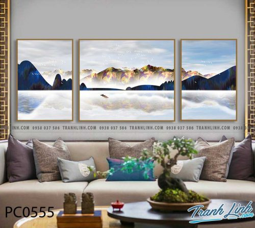 Bo tranh Canvas treo tuong trang tri phong khach phong canh PC0555
