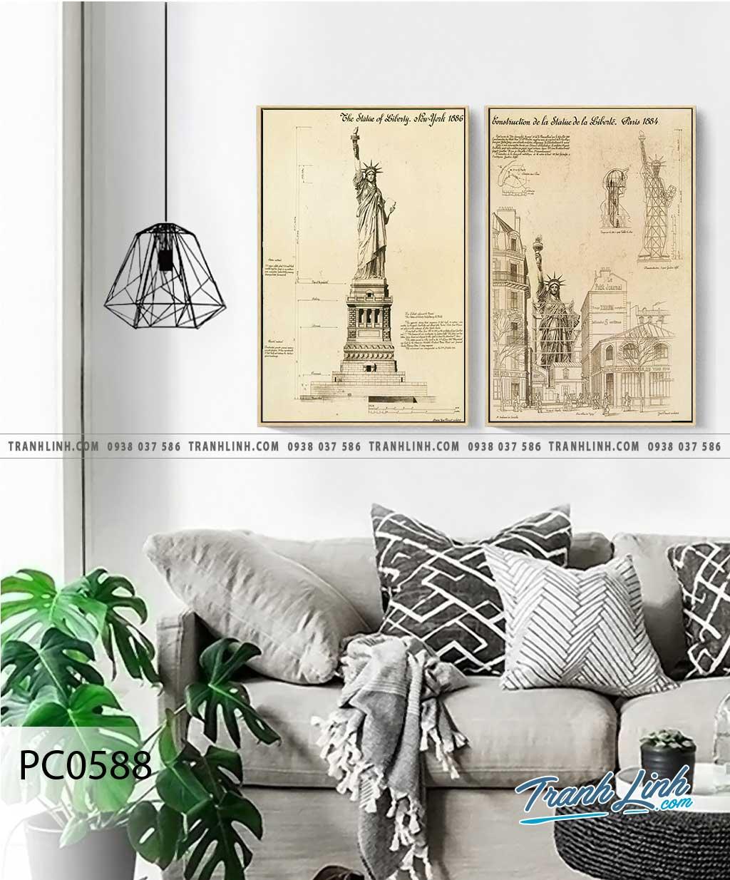 Bo tranh Canvas treo tuong trang tri phong khach phong canh PC0588
