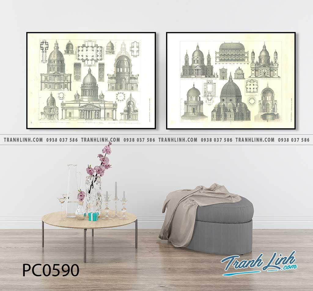 Bo tranh Canvas treo tuong trang tri phong khach phong canh PC0590