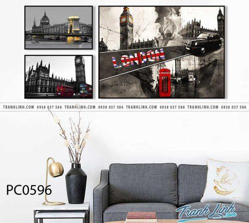 Bo tranh Canvas treo tuong trang tri phong khach phong canh PC0596