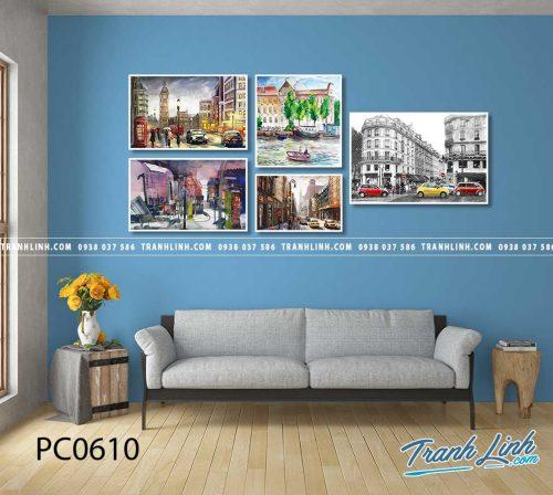 Bo tranh Canvas treo tuong trang tri phong khach phong canh PC0610