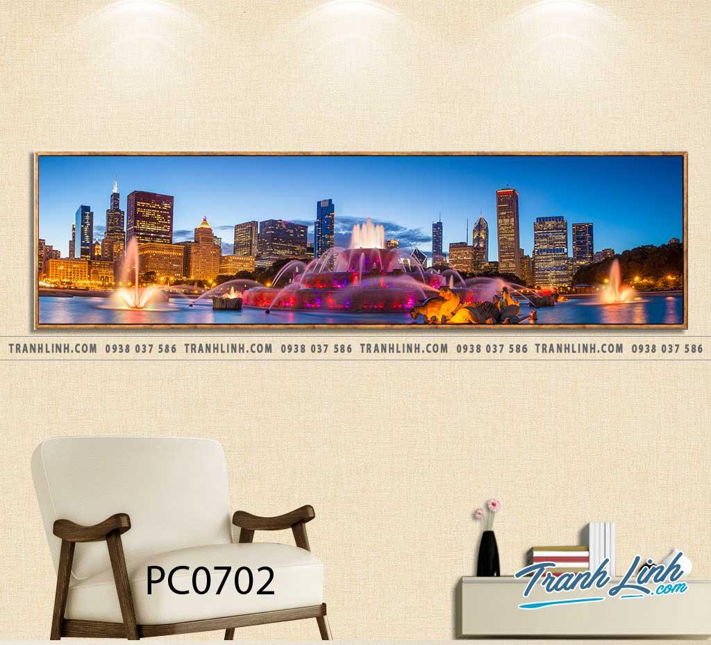 Bo tranh Canvas treo tuong trang tri phong khach phong canh PC0702