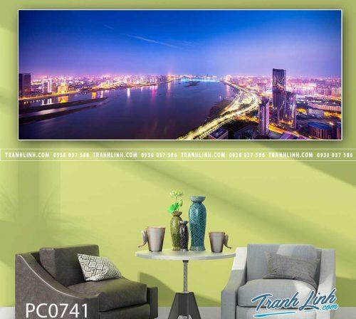 Bo tranh Canvas treo tuong trang tri phong khach phong canh PC0741