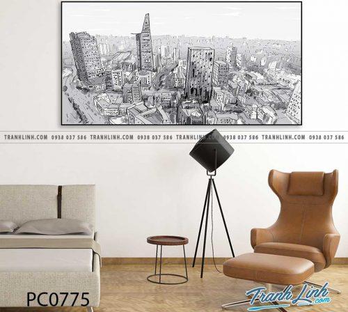 Bo tranh Canvas treo tuong trang tri phong khach phong canh PC0775