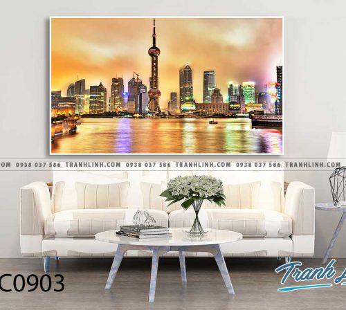 Bo tranh Canvas treo tuong trang tri phong khach phong canh PC0903