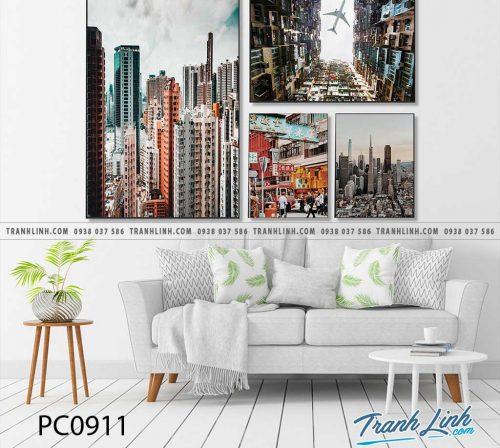 Bo tranh Canvas treo tuong trang tri phong khach phong canh PC0911