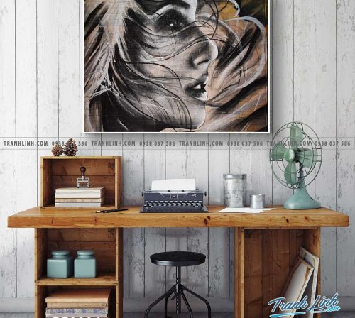 Bo tranh Canvas treo tuong trang tri phong khach co gai CG0004