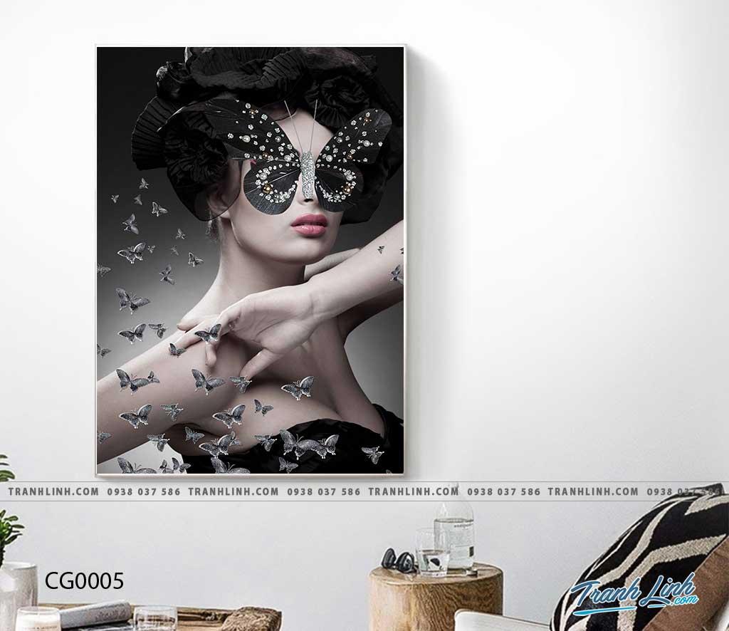 Bo tranh Canvas treo tuong trang tri phong khach co gai CG0005
