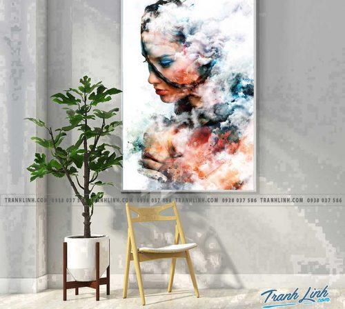 Bo tranh Canvas treo tuong trang tri phong khach co gai CG0006